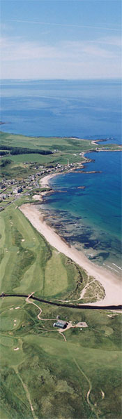 Aerial view of Machrihanish and coastline